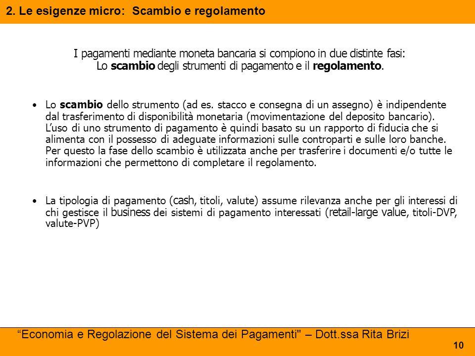 2. Le esigenze micro: Scambio e regolamento