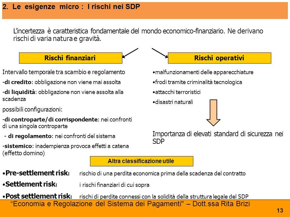 2. Le esigenze micro : I rischi nei SDP