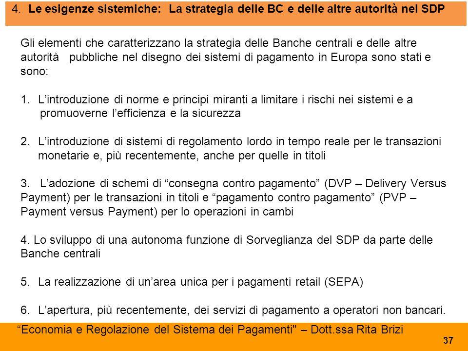 4. Le esigenze sistemiche: La strategia delle BC e delle altre autorità nel SDP