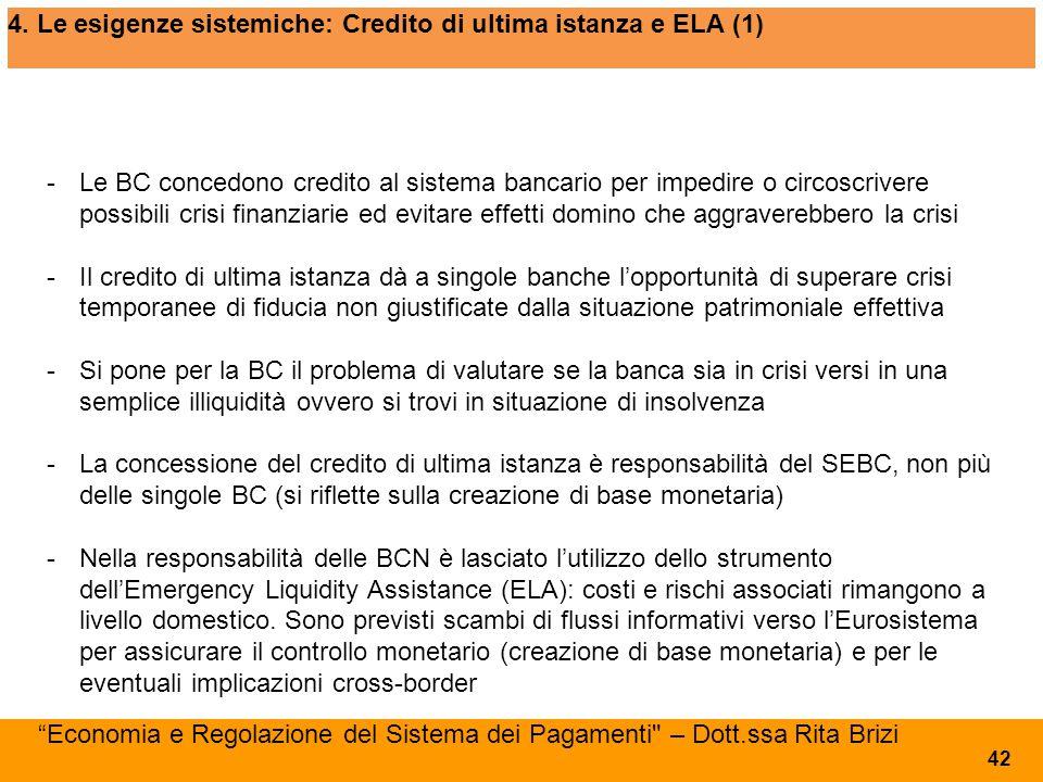 4. Le esigenze sistemiche: Credito di ultima istanza e ELA (1)