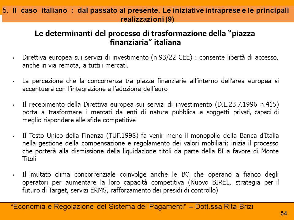 5. Il caso italiano : dal passato al presente