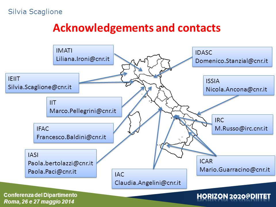 Acknowledgements and contacts