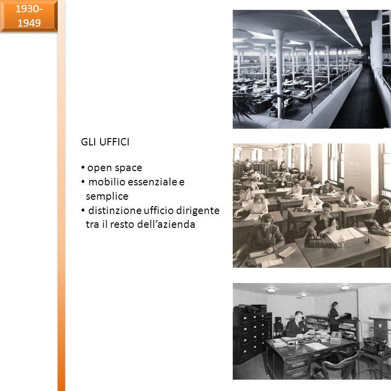1930-1949 GLI UFFICI. open space. mobilio essenziale e semplice.
