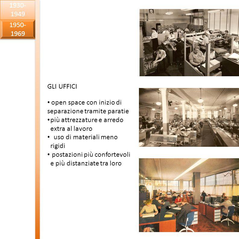 1930-1949 1950-1969. GLI UFFICI. open space con inizio di separazione tramite paratie. più attrezzature e arredo extra al lavoro.