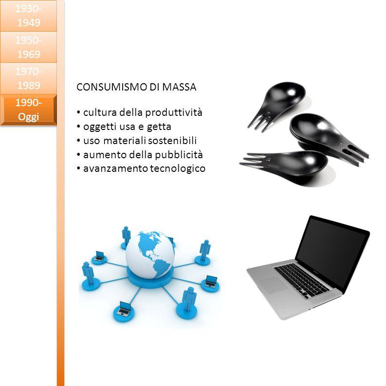 1930-1949 1950-1969. 1970-1989. CONSUMISMO DI MASSA. cultura della produttività. oggetti usa e getta.