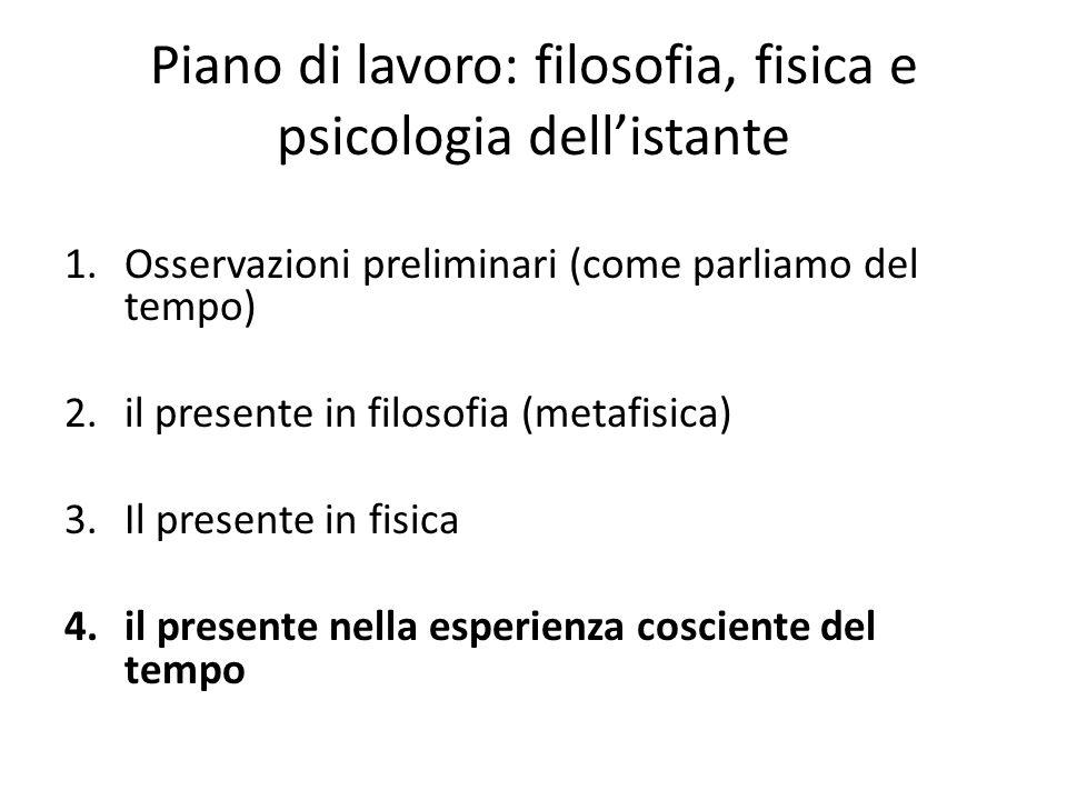 Piano di lavoro: filosofia, fisica e psicologia dell'istante