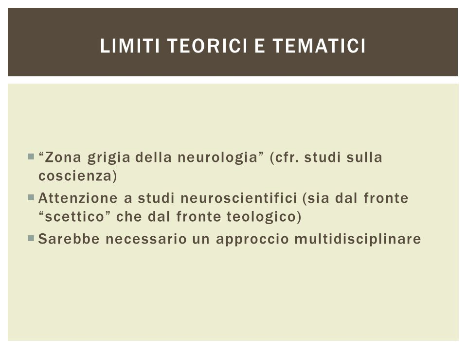 Limiti teorici e tematici