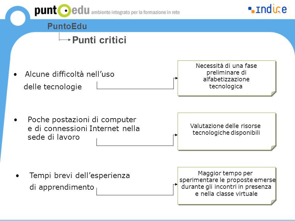 Punti critici PuntoEdu Alcune difficoltà nell'uso delle tecnologie