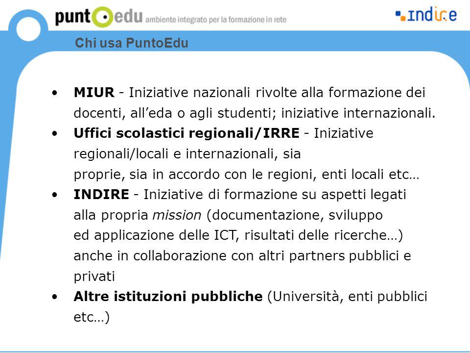 Chi usa PuntoEdu MIUR - Iniziative nazionali rivolte alla formazione dei docenti, all'eda o agli studenti; iniziative internazionali.