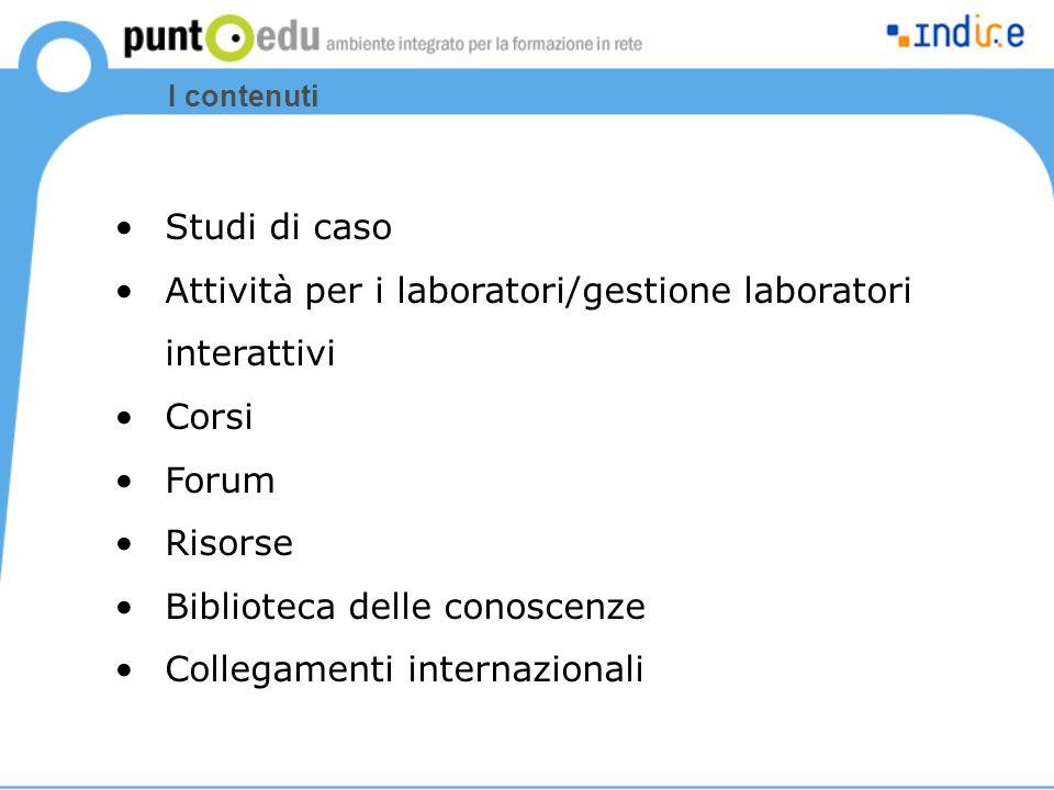 Attività per i laboratori/gestione laboratori interattivi