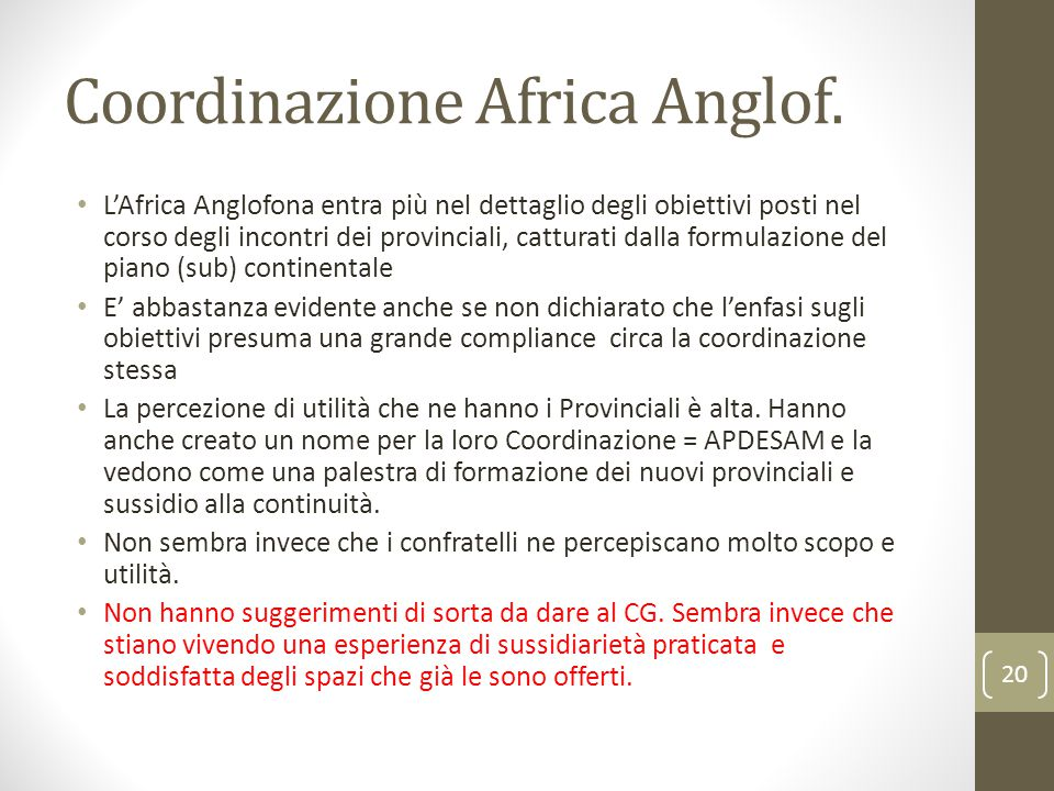 Coordinazione Africa Anglof.