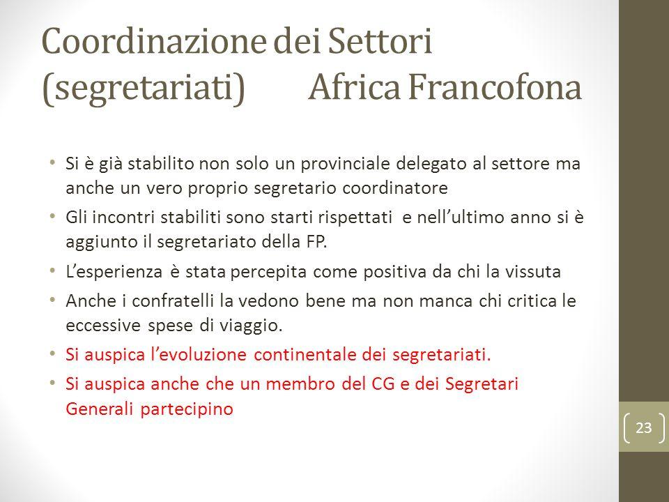 Coordinazione dei Settori (segretariati) Africa Francofona