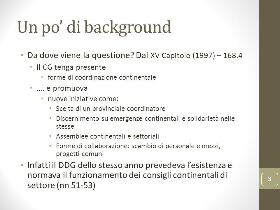 Un po' di background Da dove viene la questione Dal XV Capitolo (1997) – 168.4. Il CG tenga presente.