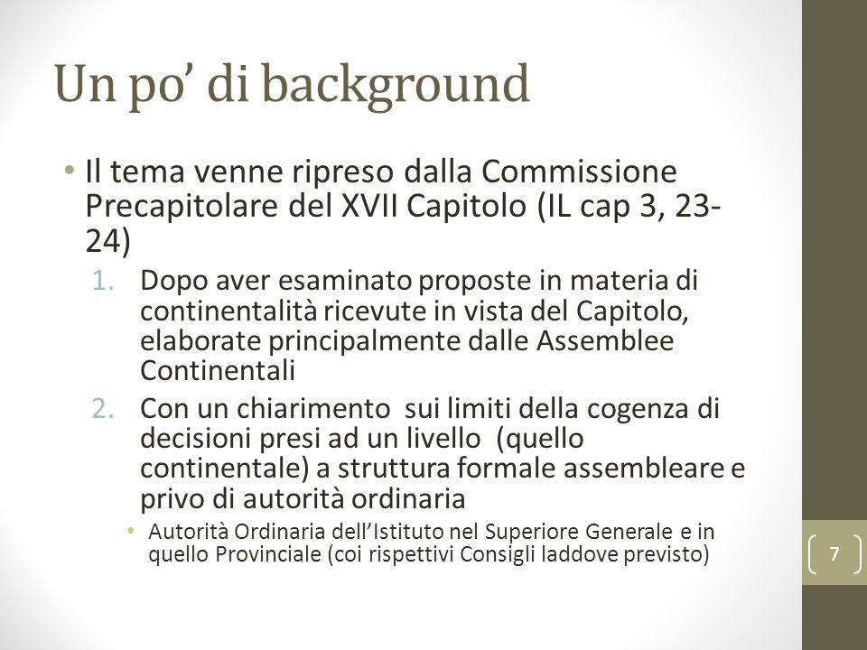 Un po' di background Il tema venne ripreso dalla Commissione Precapitolare del XVII Capitolo (IL cap 3, 23-24)