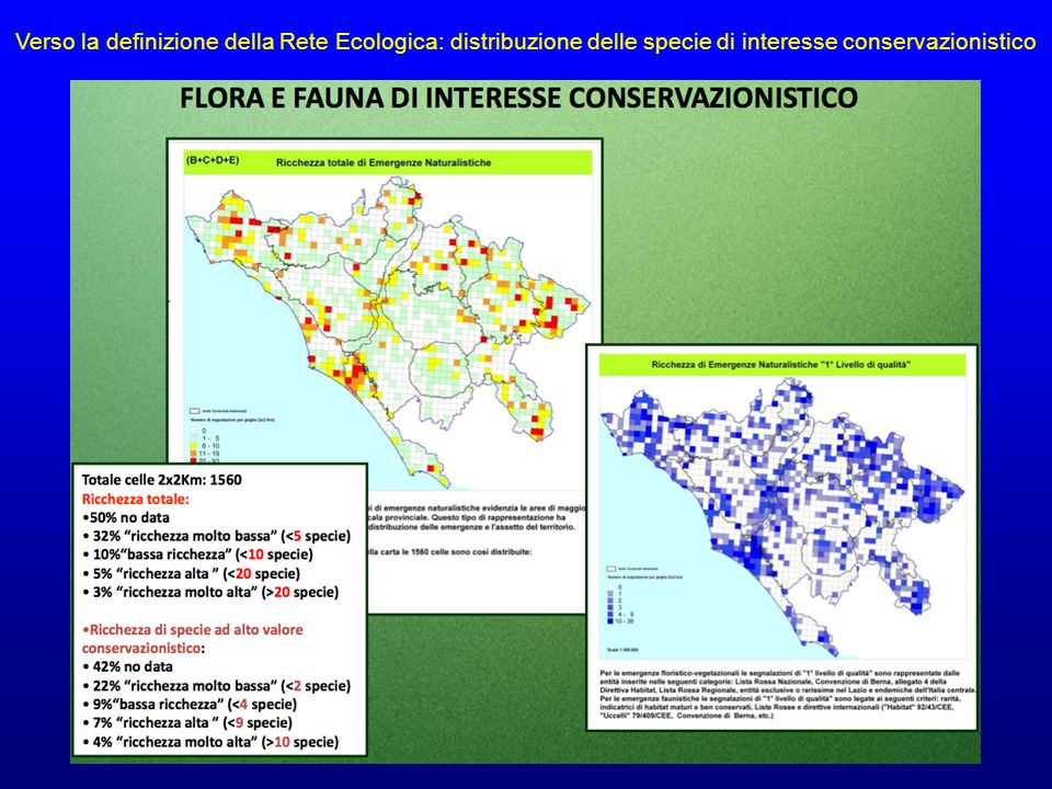 Verso la definizione della Rete Ecologica: distribuzione delle specie di interesse conservazionistico