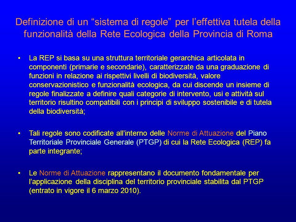 Definizione di un sistema di regole per l'effettiva tutela della funzionalità della Rete Ecologica della Provincia di Roma