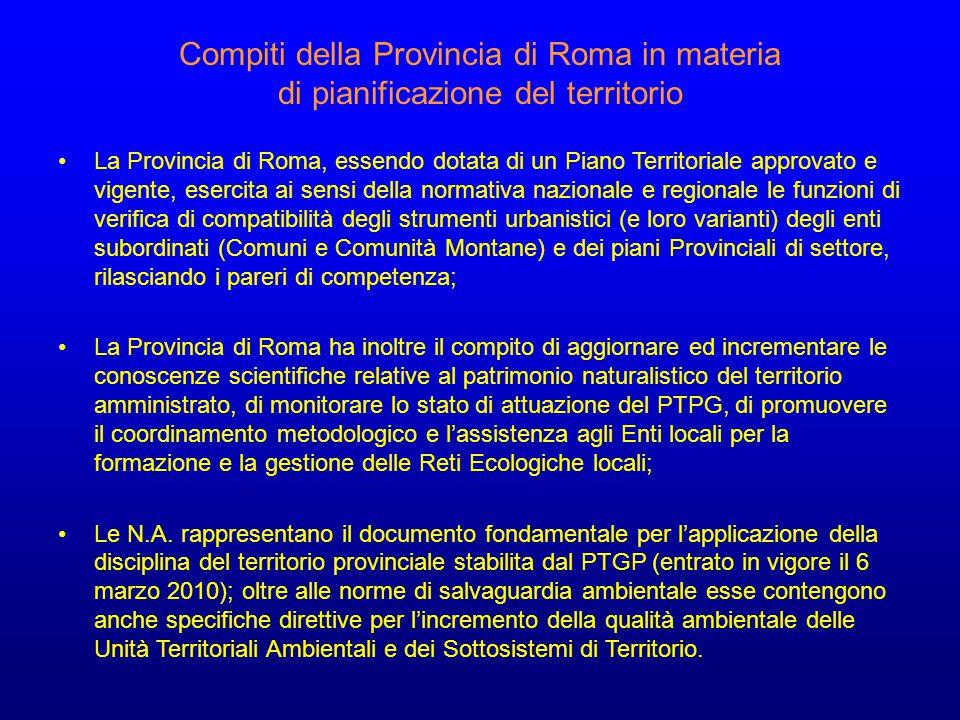Compiti della Provincia di Roma in materia di pianificazione del territorio