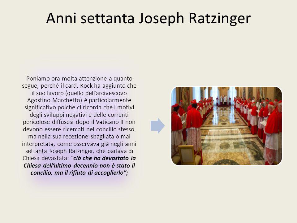 Anni settanta Joseph Ratzinger