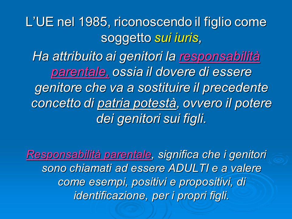 L'UE nel 1985, riconoscendo il figlio come soggetto sui iuris,
