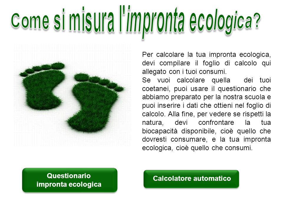 Come si misura l impronta ecologica