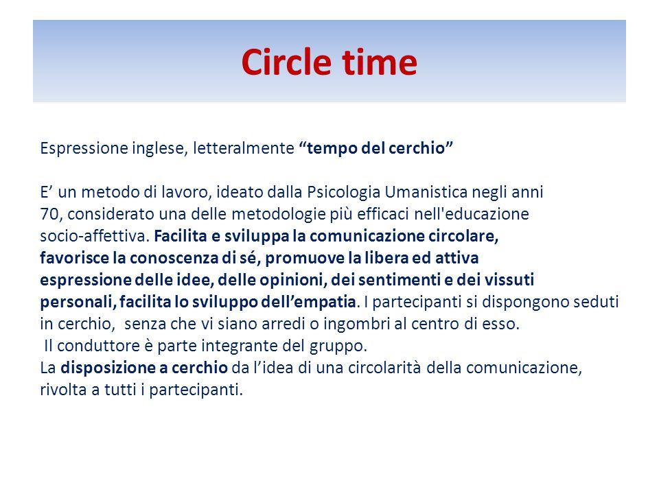 Circle time Espressione inglese, letteralmente tempo del cerchio