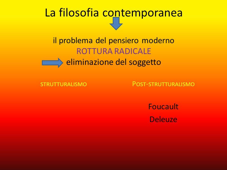 La filosofia contemporanea il problema del pensiero moderno rottura radicale eliminazione del soggetto