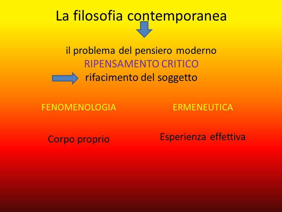 La filosofia contemporanea il problema del pensiero moderno ripensamento critico rifacimento del soggetto