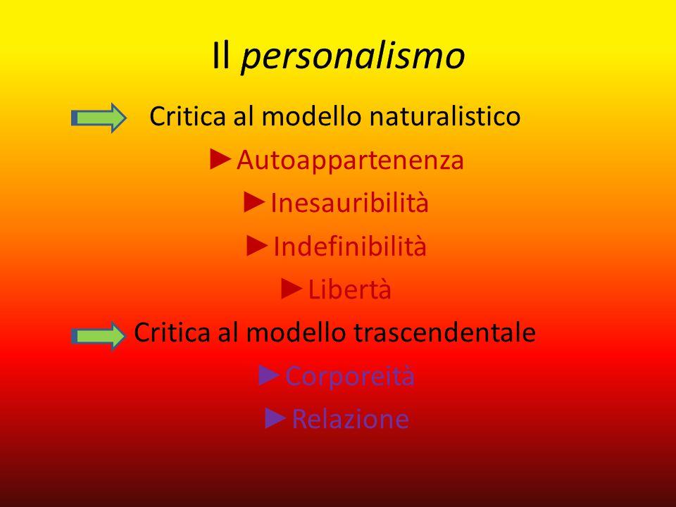 Il personalismo Critica al modello naturalistico ►Autoappartenenza
