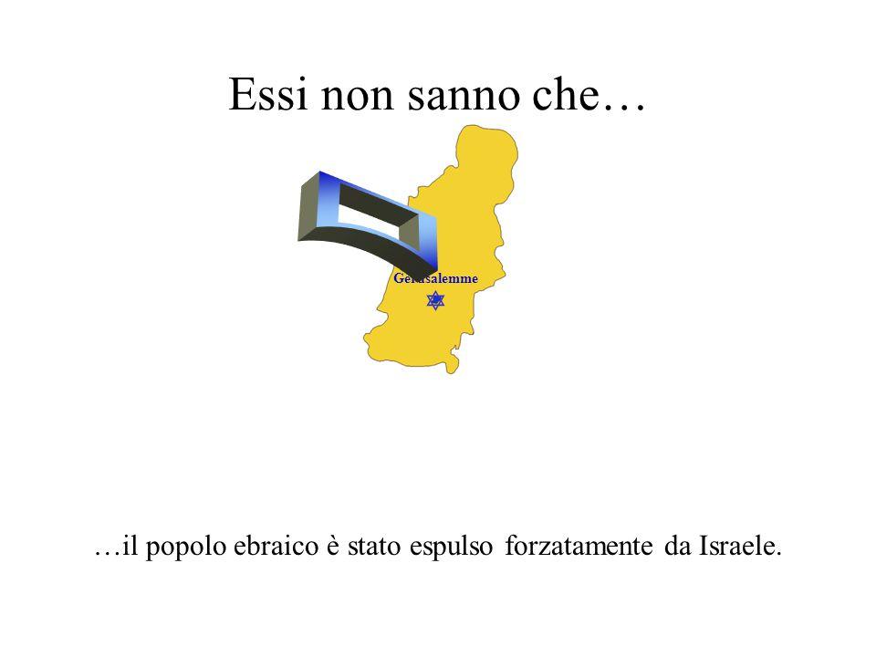 …il popolo ebraico è stato espulso forzatamente da Israele.