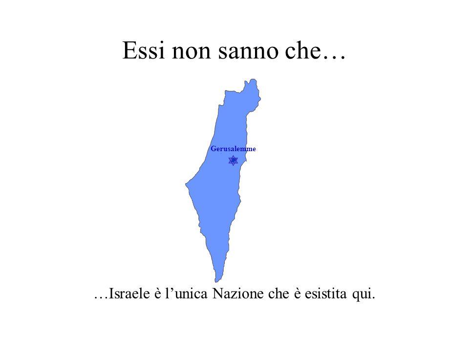 …Israele è l'unica Nazione che è esistita qui.