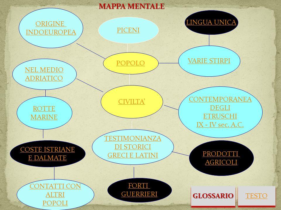 MAPPA MENTALE ORIGINE INDOEUROPEA LINGUA UNICA PICENI VARIE STIRPI