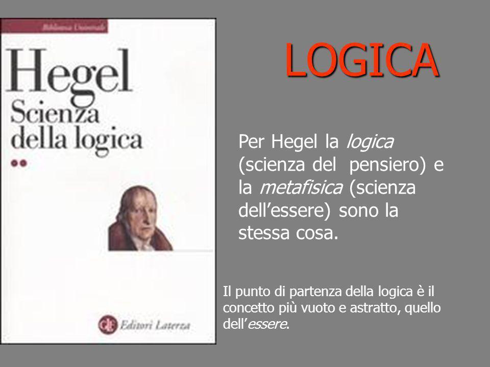 LOGICA Per Hegel la logica (scienza del pensiero) e