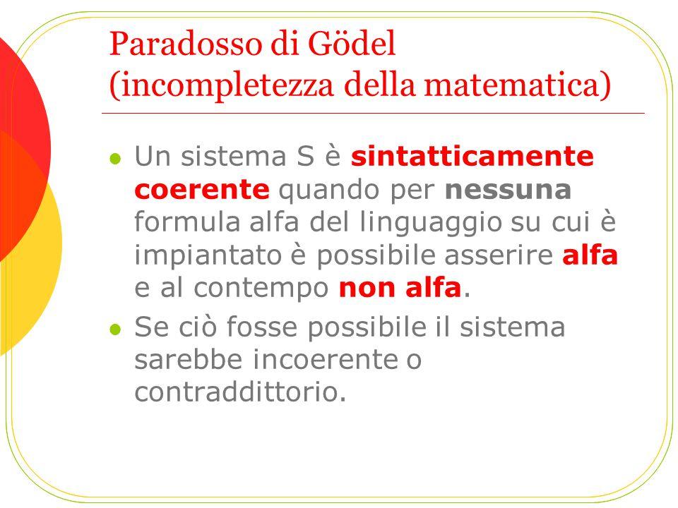 Paradosso di Gödel (incompletezza della matematica)