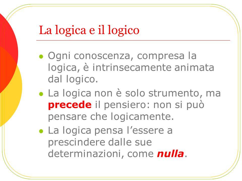 La logica e il logico Ogni conoscenza, compresa la logica, è intrinsecamente animata dal logico.
