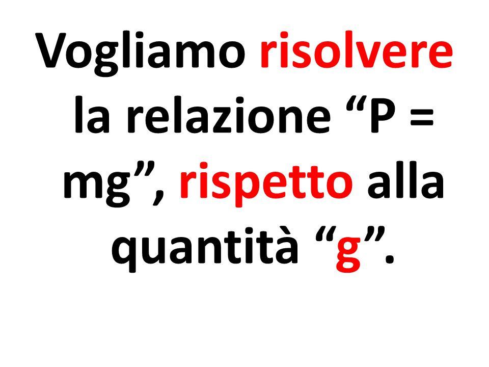 Vogliamo risolvere la relazione P = mg , rispetto alla quantità g .