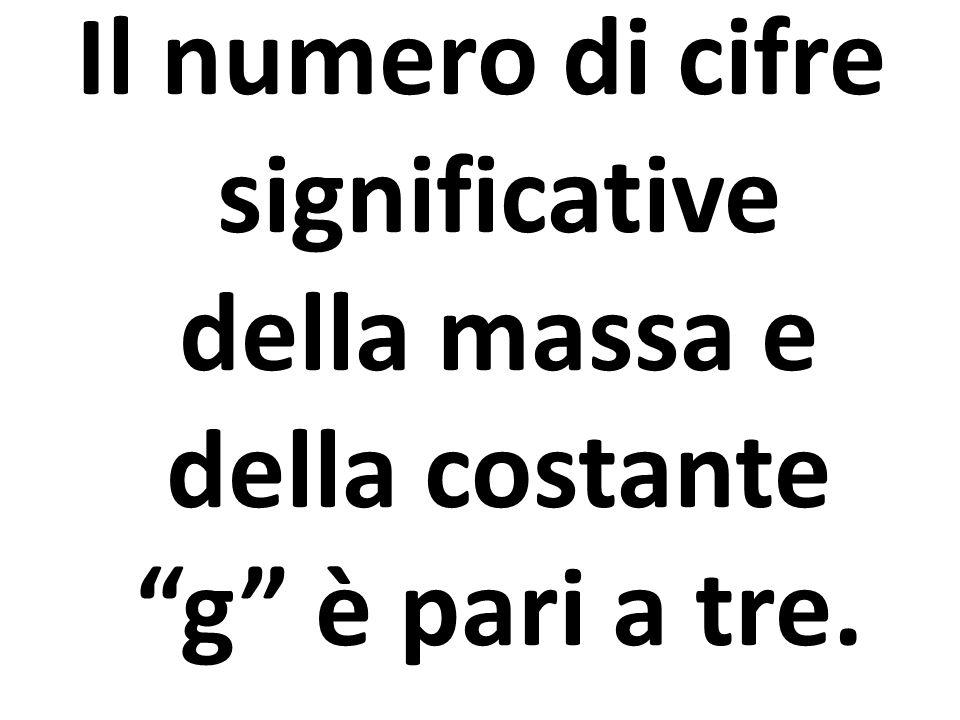 Il numero di cifre significative della massa e della costante g è pari a tre.