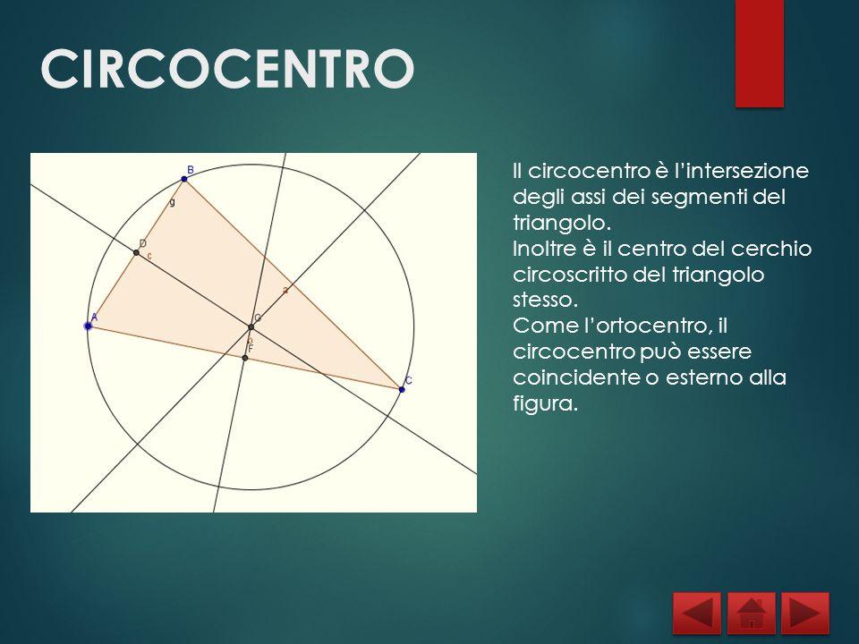 CIRCOCENTRO Il circocentro è l'intersezione degli assi dei segmenti del triangolo.