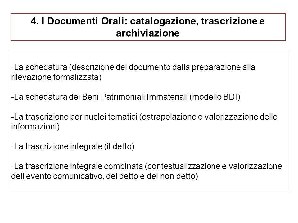 4. I Documenti Orali: catalogazione, trascrizione e