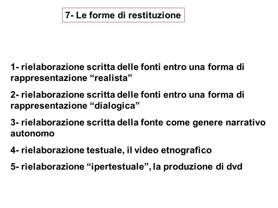 7- Le forme di restituzione