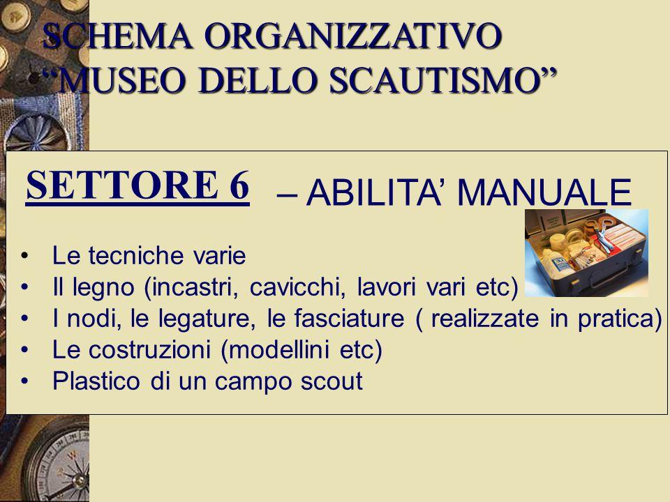 SETTORE 6 SCHEMA ORGANIZZATIVO MUSEO DELLO SCAUTISMO