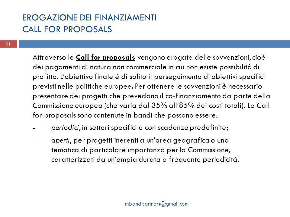 EROGAZIONE DEI FINANZIAMENTI CALL FOR PROPOSALS