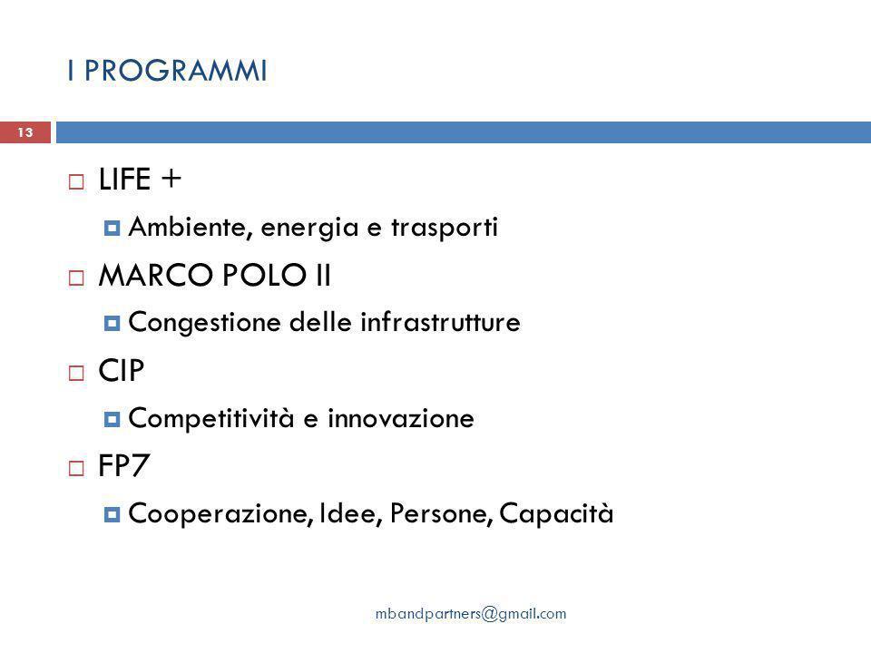 LIFE + MARCO POLO II CIP FP7 I PROGRAMMI Ambiente, energia e trasporti