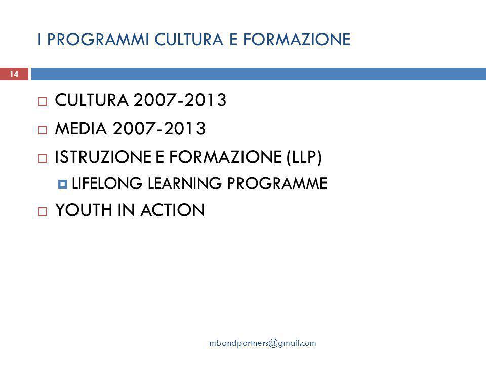 I PROGRAMMI CULTURA E FORMAZIONE