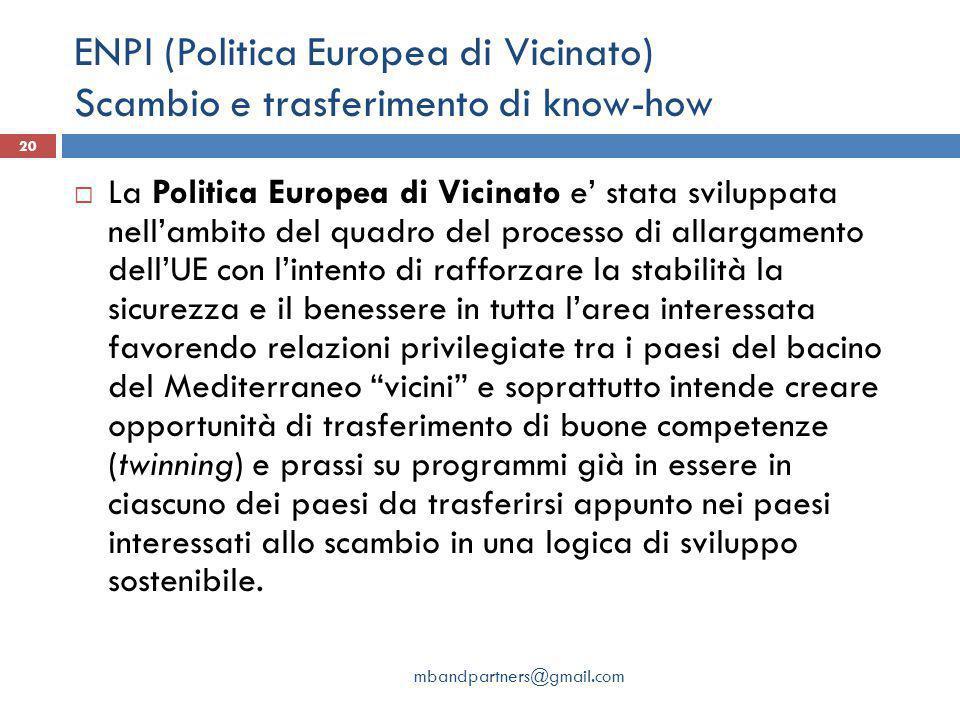 ENPI (Politica Europea di Vicinato) Scambio e trasferimento di know-how