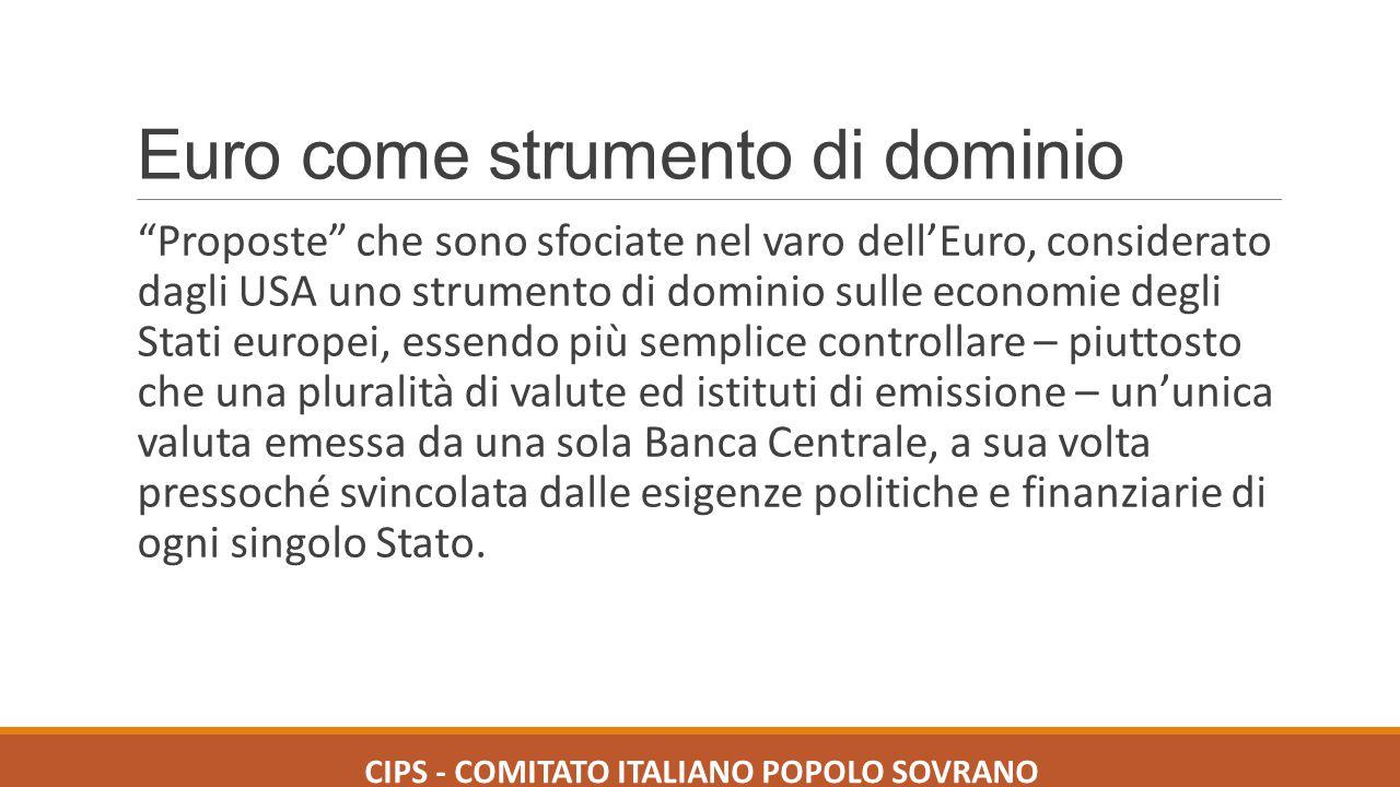 Euro come strumento di dominio