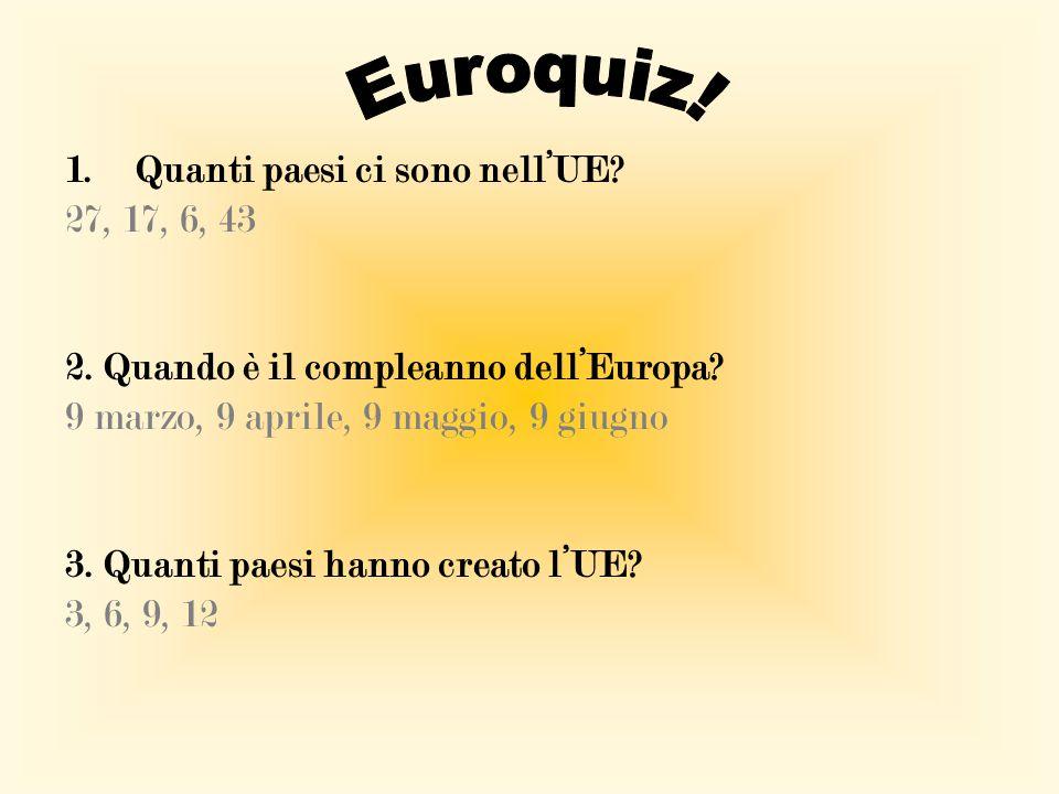 Euroquiz! Quanti paesi ci sono nell'UE 27, 17, 6, 43