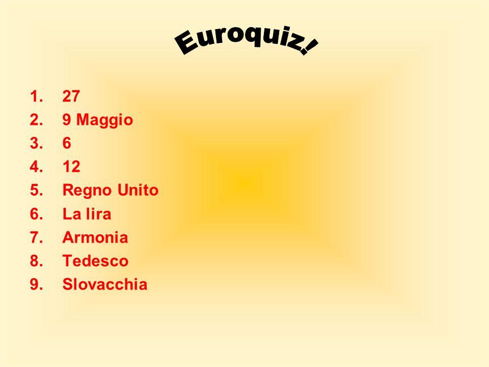 Euroquiz! 27 9 Maggio 6 12 Regno Unito La lira Armonia Tedesco