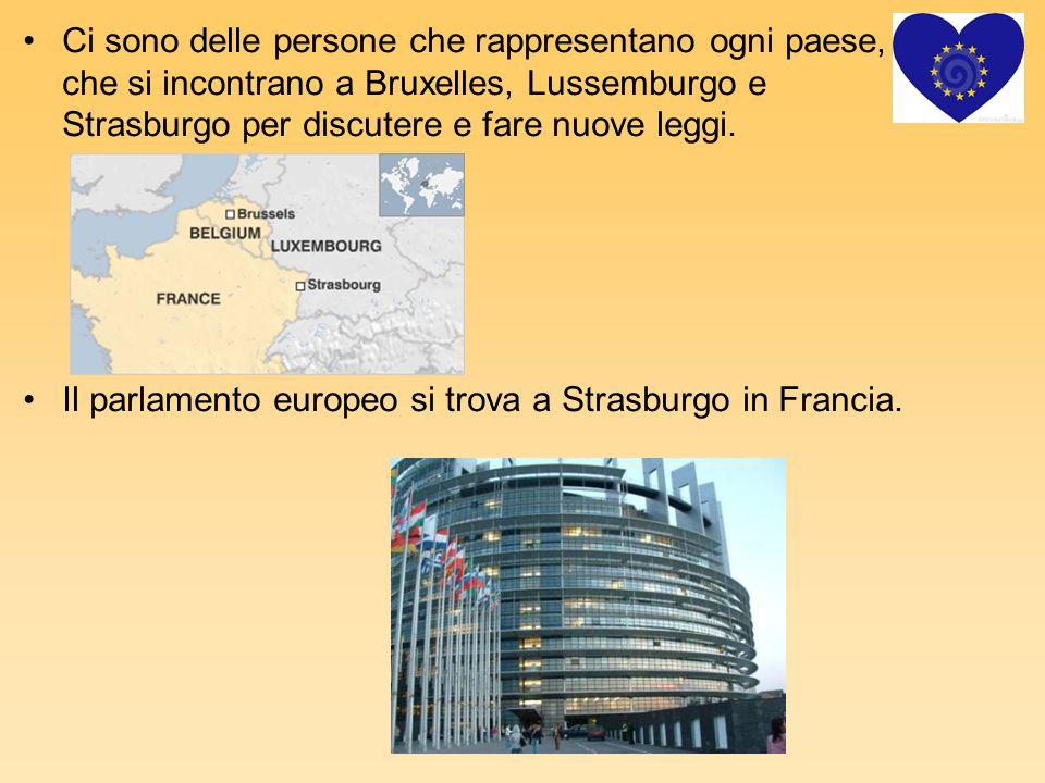 Ci sono delle persone che rappresentano ogni paese, che si incontrano a Bruxelles, Lussemburgo e Strasburgo per discutere e fare nuove leggi.