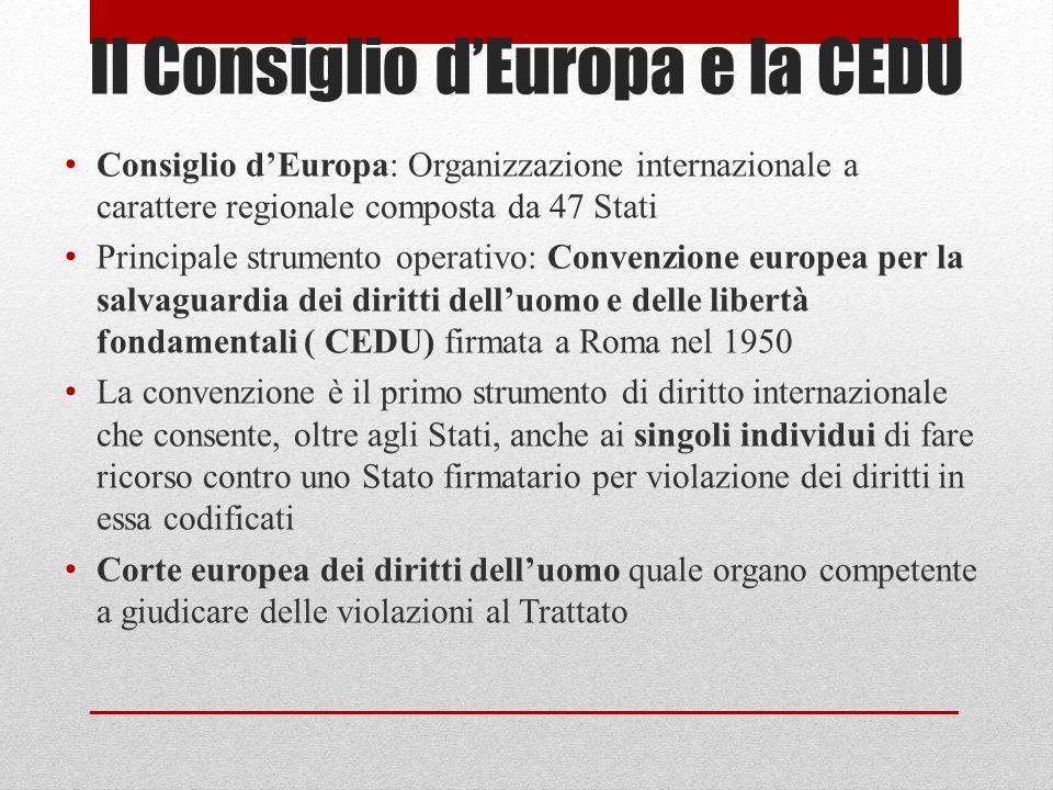 Il Consiglio d'Europa e la CEDU