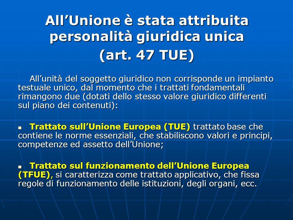 All'Unione è stata attribuita personalità giuridica unica